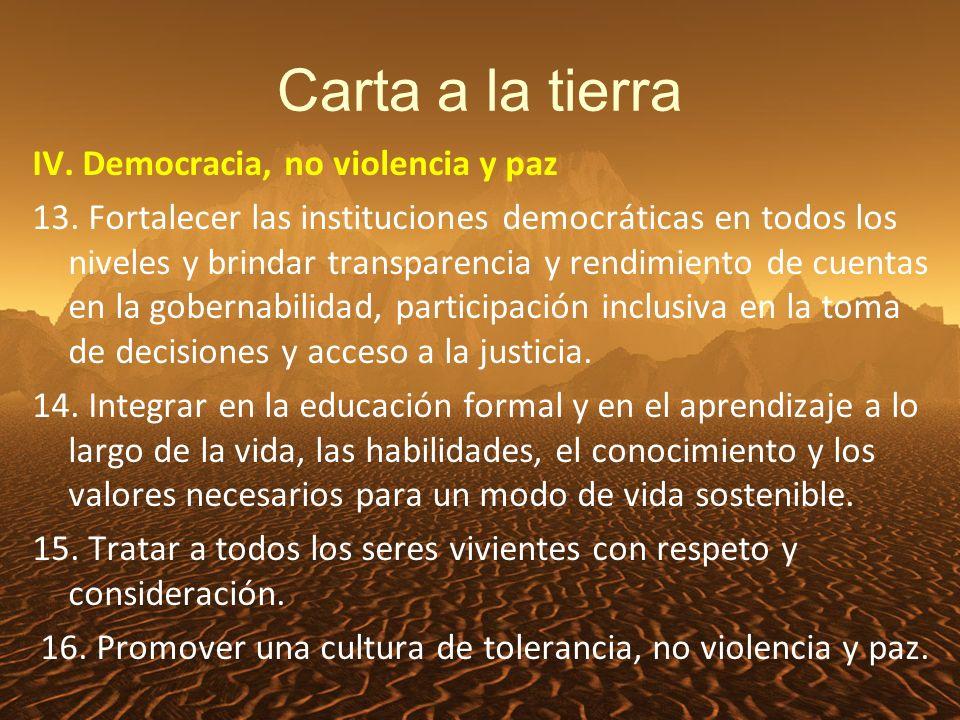 Carta a la tierra IV. Democracia, no violencia y paz 13.