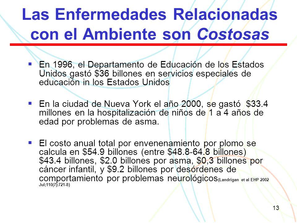 13 Las Enfermedades Relacionadas con el Ambiente son Costosas En 1996, el Departamento de Educación de los Estados Unidos gastó $36 billones en servicios especiales de educación in los Estados Unidos En la ciudad de Nueva York el año 2000, se gastó $33.4 millones en la hospitalización de niños de 1 a 4 años de edad por problemas de asma.