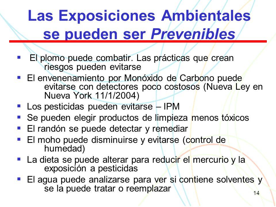 14 Las Exposiciones Ambientales se pueden ser Prevenibles El plomo puede combatir.