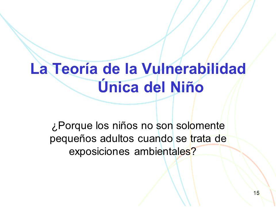 15 La Teoría de la Vulnerabilidad Única del Niño ¿Porque los niños no son solomente pequeños adultos cuando se trata de exposiciones ambientales