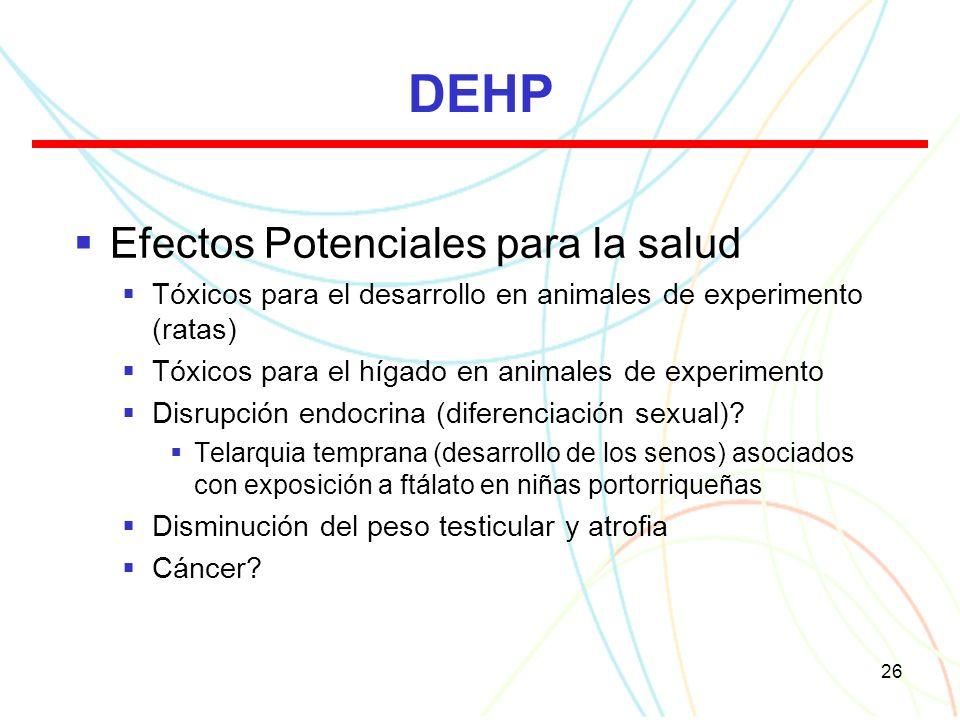 26 DEHP Efectos Potenciales para la salud Tóxicos para el desarrollo en animales de experimento (ratas) Tóxicos para el hígado en animales de experimento Disrupción endocrina (diferenciación sexual).