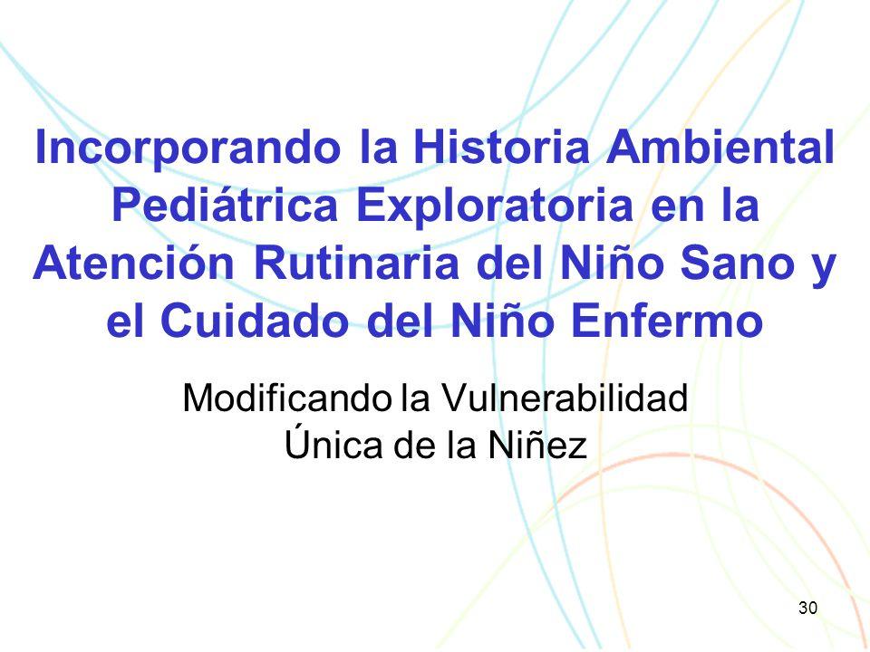 30 Incorporando la Historia Ambiental Pediátrica Exploratoria en la Atención Rutinaria del Niño Sano y el Cuidado del Niño Enfermo Modificando la Vulnerabilidad Única de la Niñez