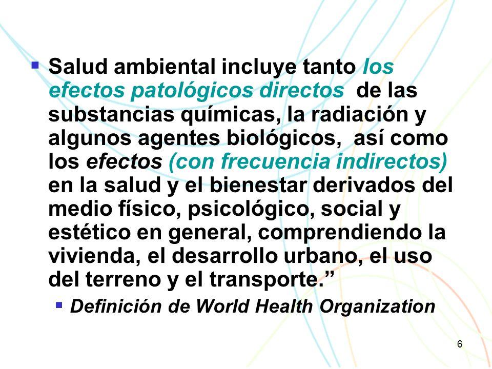 6 Salud ambiental incluye tanto los efectos patológicos directos de las substancias químicas, la radiación y algunos agentes biológicos, así como los efectos (con frecuencia indirectos) en la salud y el bienestar derivados del medio físico, psicológico, social y estético en general, comprendiendo la vivienda, el desarrollo urbano, el uso del terreno y el transporte.