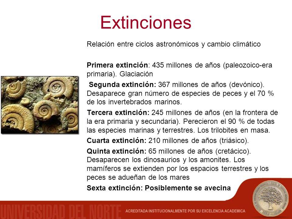Extinciones Relación entre ciclos astronómicos y cambio climático Primera extinción: 435 millones de años (paleozoico-era primaria). Glaciación Segund