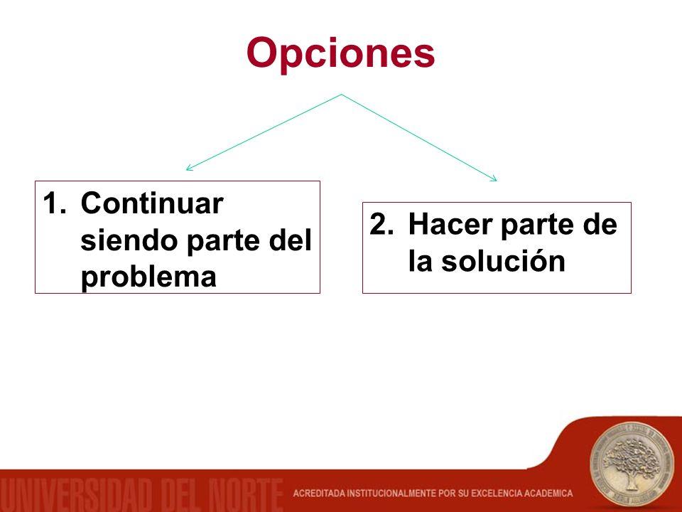 Opciones 2.Hacer parte de la solución 1.Continuar siendo parte del problema
