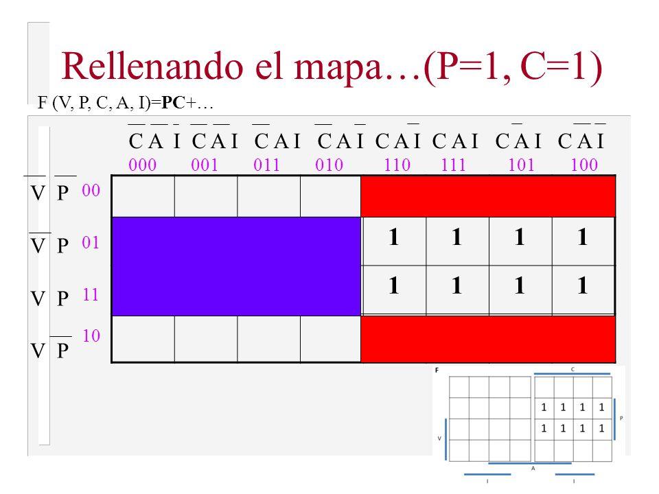 El sistema de alarma debe activarse cuando: 1.La puerta está abierta y la calefacción encendida (P=1, C=1) 2.La puerta está abierta y el aire acondicionado encendido (P=1, A=1) 3.La puerta está abierta con una alarma de proximidad de intruso (P=1, I=1) 4.La ventana está abierta y la calefacción encendida.