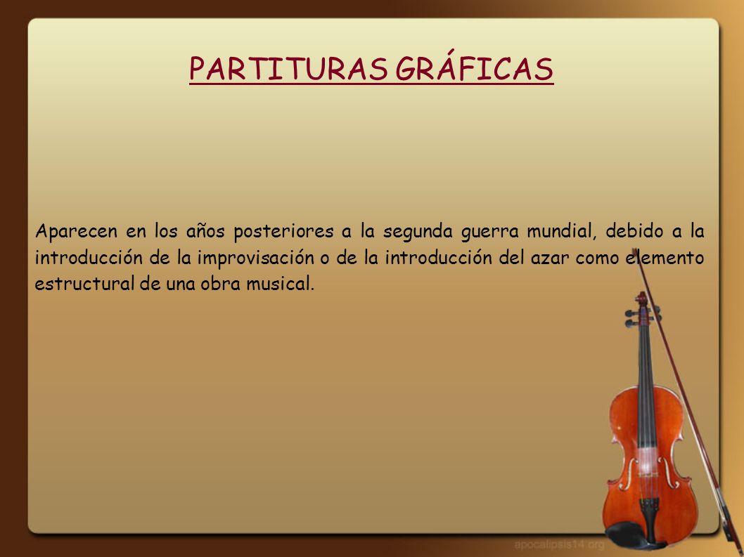 PARTITURAS GRÁFICAS Aparecen en los años posteriores a la segunda guerra mundial, debido a la introducción de la improvisación o de la introducción de