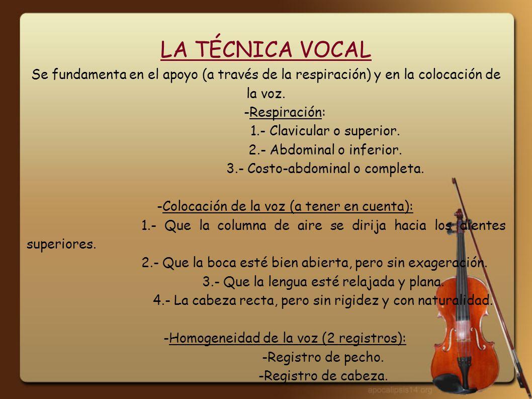 CLASIFICACIÓN DE LA VOZ -Según su naturaleza: 1ª.- voz de mujer y niño (aguda).