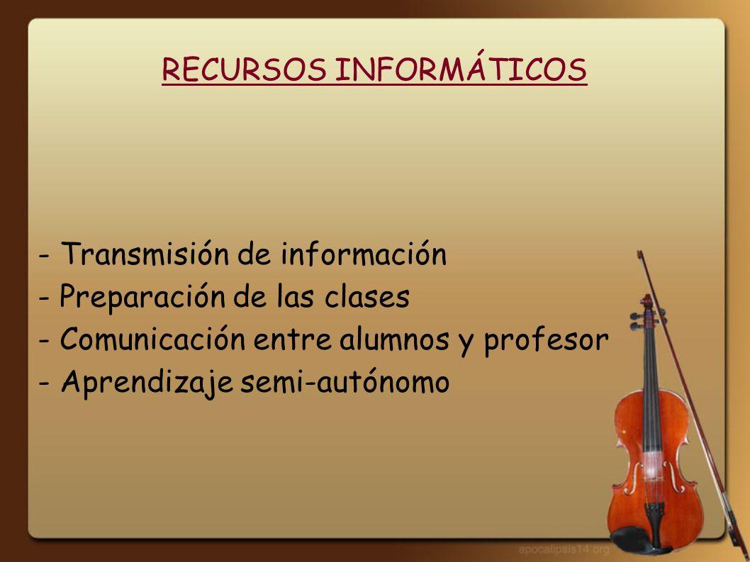 RECURSOS INFORMÁTICOS - Transmisión de información - Preparación de las clases - Comunicación entre alumnos y profesor - Aprendizaje semi-autónomo