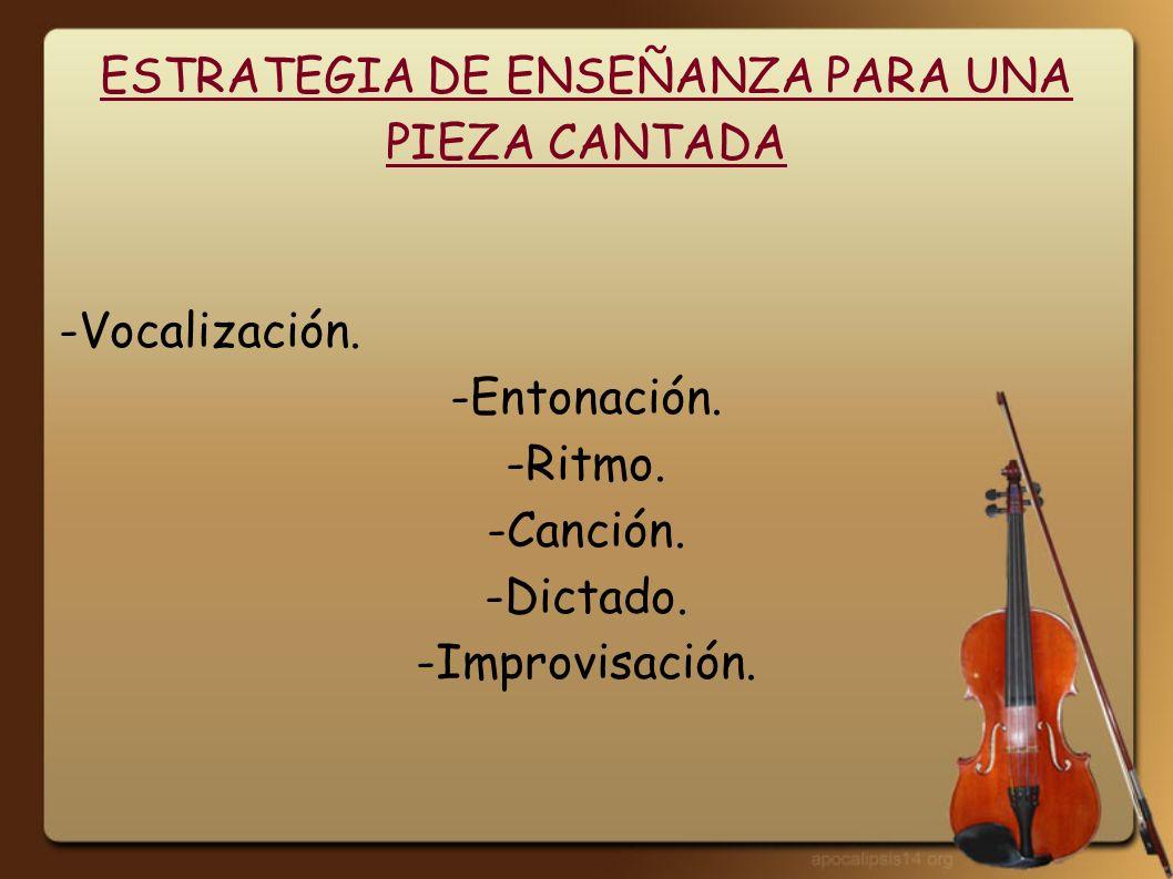 ESTRATEGIA DE ENSEÑANZA PARA UNA PIEZA CANTADA -Vocalización. -Entonación. -Ritmo. -Canción. -Dictado. -Improvisación.
