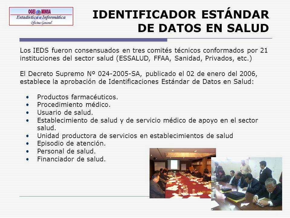IDENTIFICADOR ESTÁNDAR DE DATOS EN SALUD Los IEDS fueron consensuados en tres comités técnicos conformados por 21 instituciones del sector salud (ESSA
