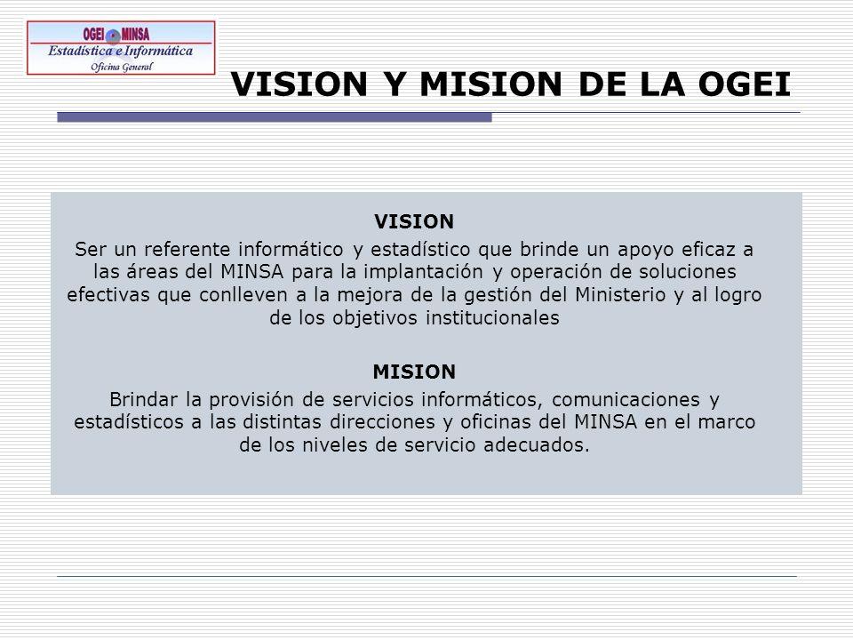 VISION Y MISION DE LA OGEI VISION Ser un referente informático y estadístico que brinde un apoyo eficaz a las áreas del MINSA para la implantación y o