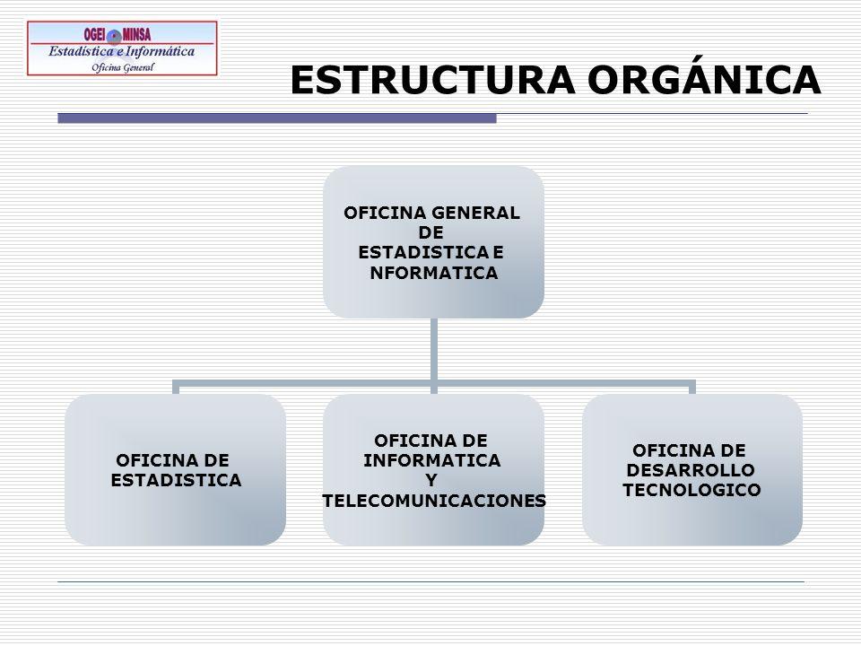 ESTRUCTURA ORGÁNICA OFICINA GENERAL DE ESTADISTICA E NFORMATICA OFICINA DE ESTADISTICA OFICINA DE INFORMATICA Y TELECOMUNICACIONES OFICINA DE DESARROL