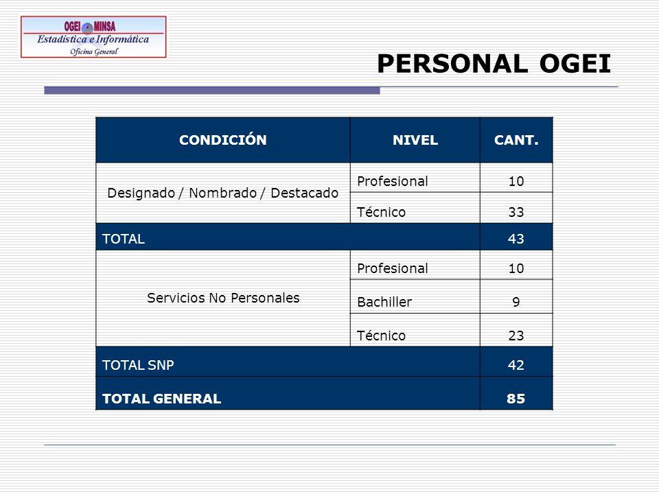 PERSONAL OGEI CONDICIÓNNIVELCANT. Designado / Nombrado / Destacado Profesional10 Técnico33 TOTAL43 Servicios No Personales Profesional10 Bachiller9 Té