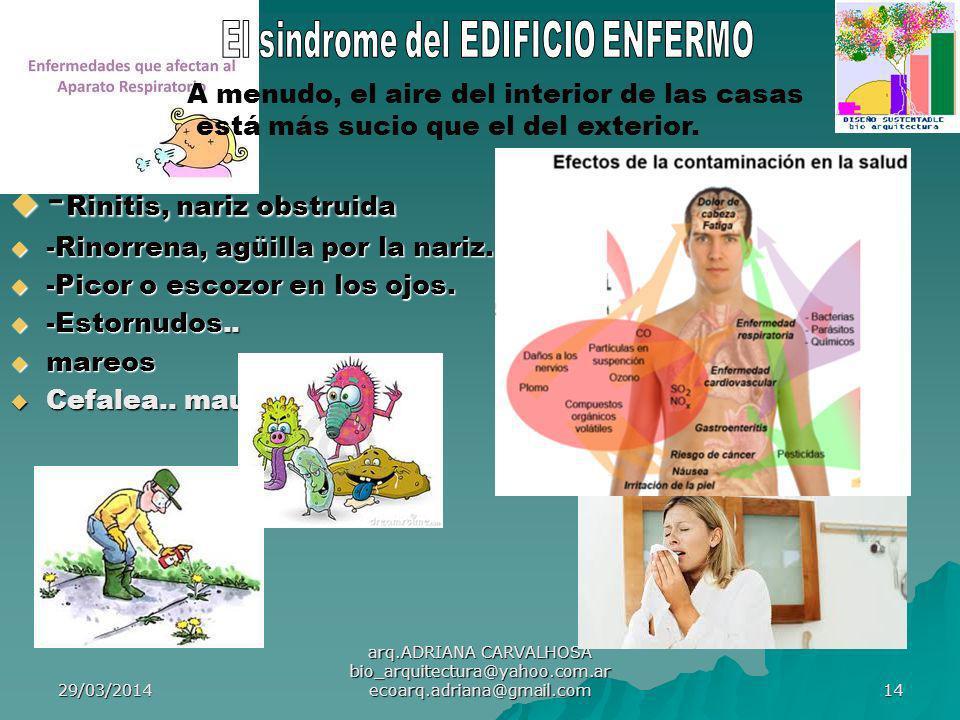 29/03/2014 arq.ADRIANA CARVALHOSA bio_arquitectura@yahoo.com.ar ecoarq.adriana@gmail.com 14 - Rinitis, nariz obstruida - Rinitis, nariz obstruida -Rinorrena, agüilla por la nariz.