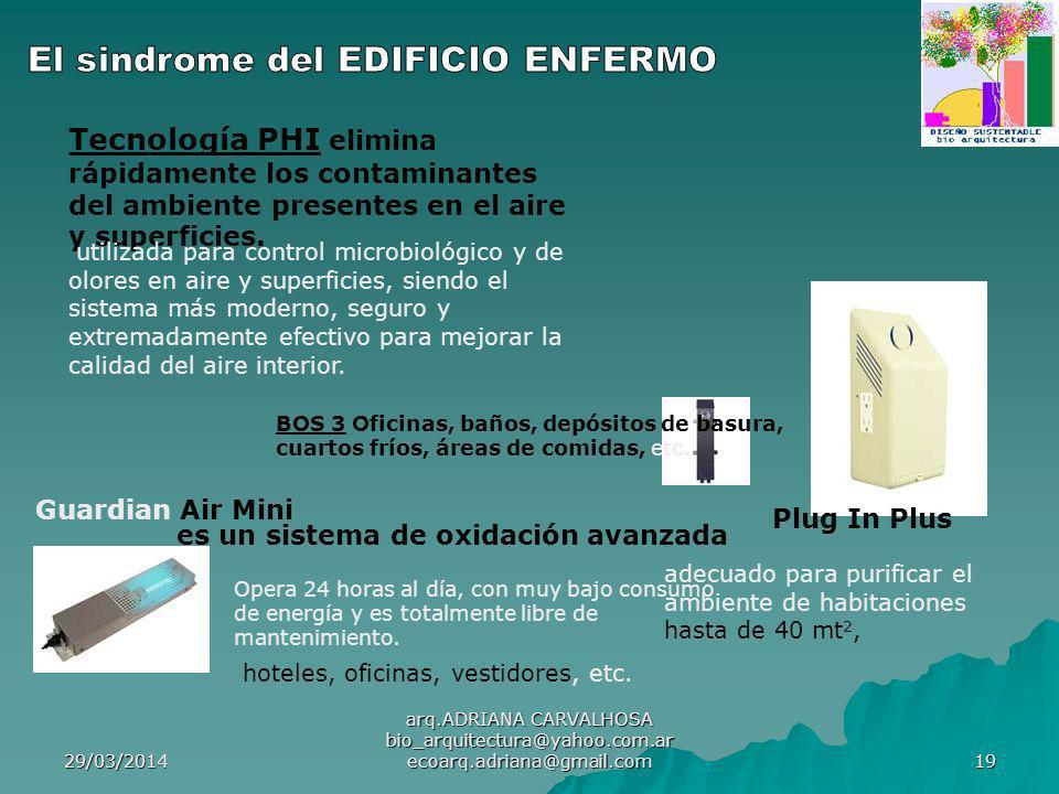 29/03/2014 arq.ADRIANA CARVALHOSA bio_arquitectura@yahoo.com.ar ecoarq.adriana@gmail.com 19 Tecnología PHI elimina rápidamente los contaminantes del ambiente presentes en el aire y superficies.