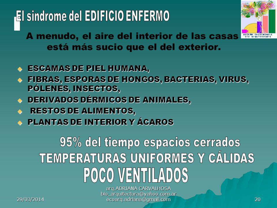 29/03/2014 arq.ADRIANA CARVALHOSA bio_arquitectura@yahoo.com.ar ecoarq.adriana@gmail.com 20 A menudo, el aire del interior de las casas está más sucio que el del exterior.