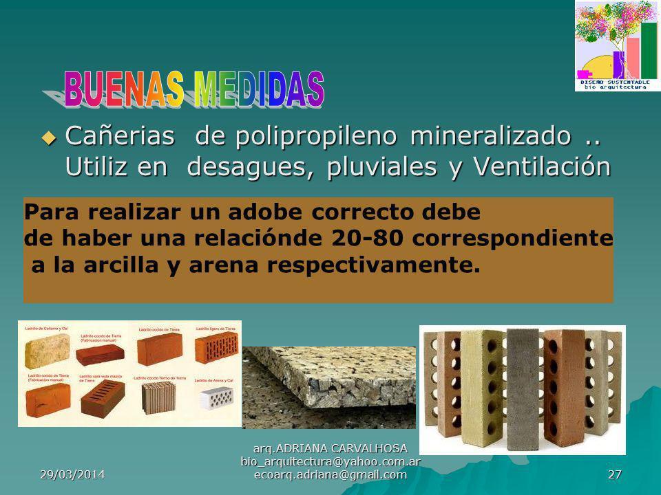 29/03/2014 arq.ADRIANA CARVALHOSA bio_arquitectura@yahoo.com.ar ecoarq.adriana@gmail.com 27 Cañerias de polipropileno mineralizado..