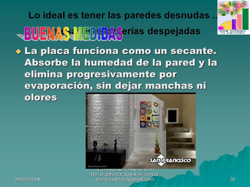 29/03/2014 arq.ADRIANA CARVALHOSA bio_arquitectura@yahoo.com.ar ecoarq.adriana@gmail.com 30 Lo ideal es tener las paredes desnudas … mesas y estanterías despejadas La placa funciona como un secante.
