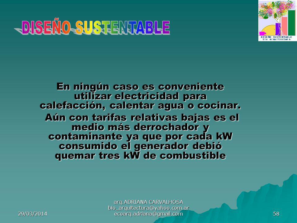29/03/2014 arq.ADRIANA CARVALHOSA bio_arquitectura@yahoo.com.ar ecoarq.adriana@gmail.com 58 En ningún caso es conveniente utilizar electricidad para calefacción, calentar agua o cocinar.