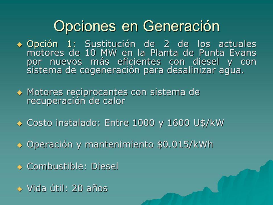 Opciones en Generación Opción 1: Sustitución de 2 de los actuales motores de 10 MW en la Planta de Punta Evans por nuevos más eficientes con diesel y