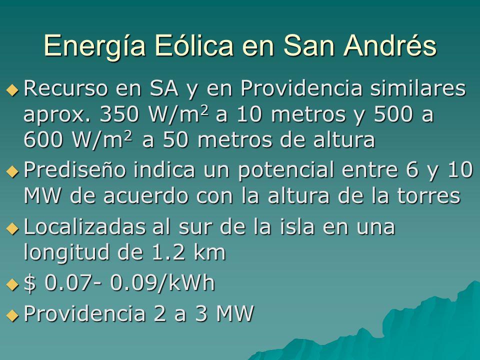 Energía Eólica en San Andrés Recurso en SA y en Providencia similares aprox. 350 W/m 2 a 10 metros y 500 a 600 W/m 2 a 50 metros de altura Recurso en
