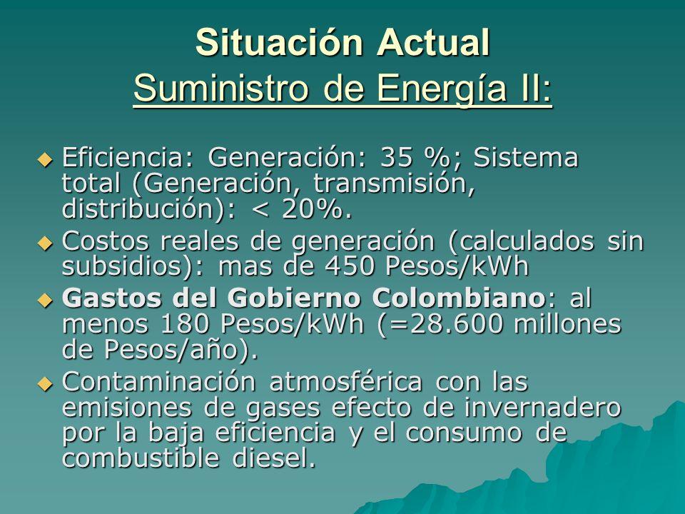 Situación Actual Suministro de Energía II: Eficiencia: Generación: 35 %; Sistema total (Generación, transmisión, distribución): < 20%. Eficiencia: Gen