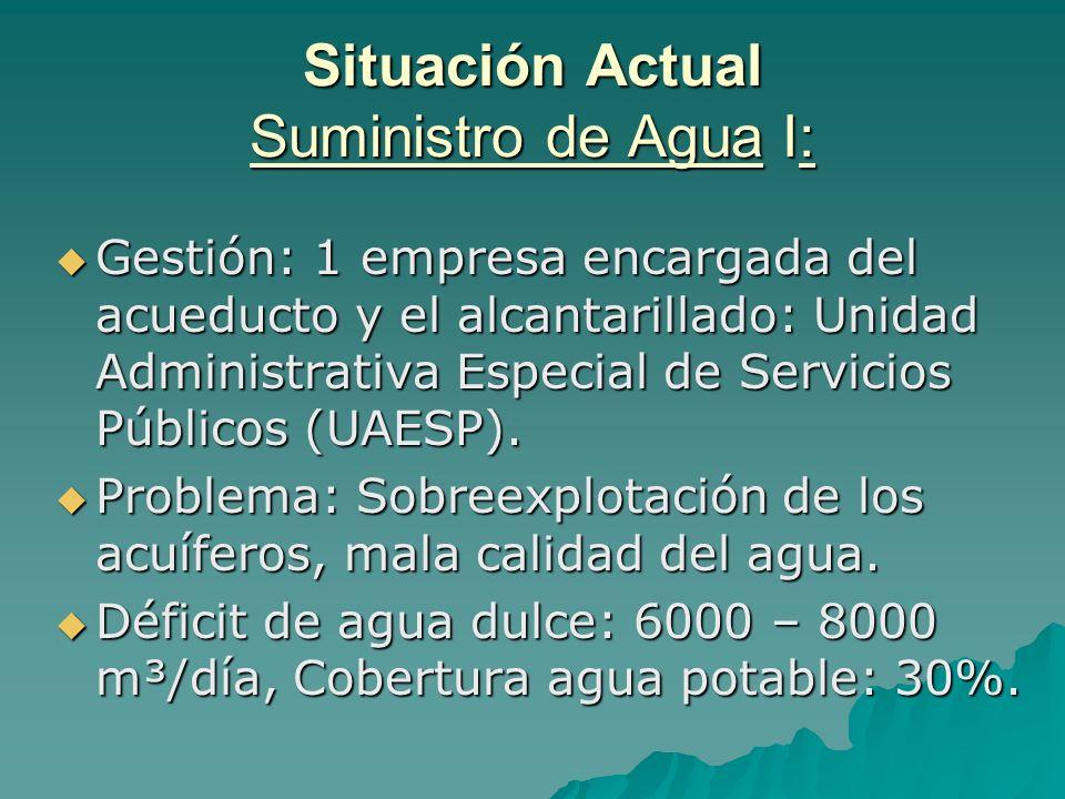 Situación Actual Suministro de Agua I: Gestión: 1 empresa encargada del acueducto y el alcantarillado: Unidad Administrativa Especial de Servicios Púb