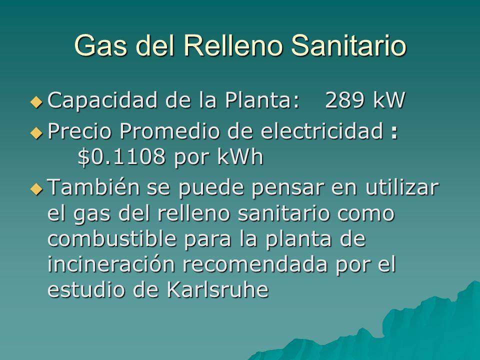 Gas del Relleno Sanitario Capacidad de la Planta: 289 kW Capacidad de la Planta: 289 kW Precio Promedio de electricidad : $0.1108 por kWh Precio Prome