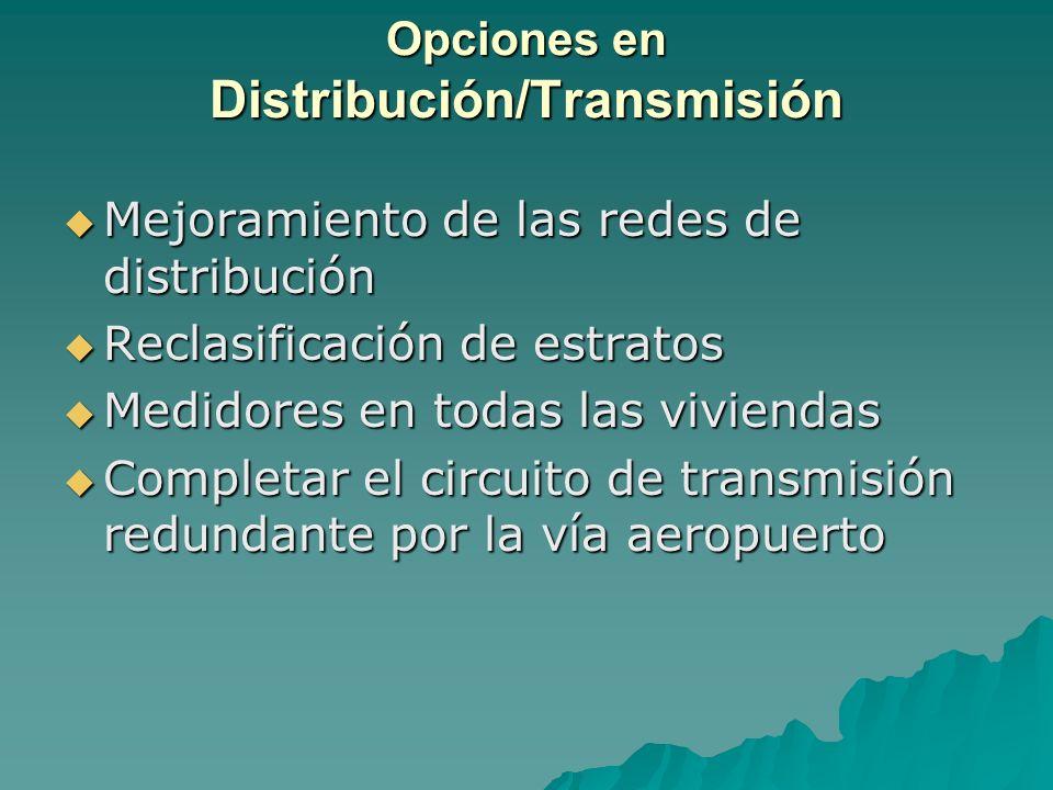 Opciones en Distribución/Transmisión Mejoramiento de las redes de distribución Mejoramiento de las redes de distribución Reclasificación de estratos R