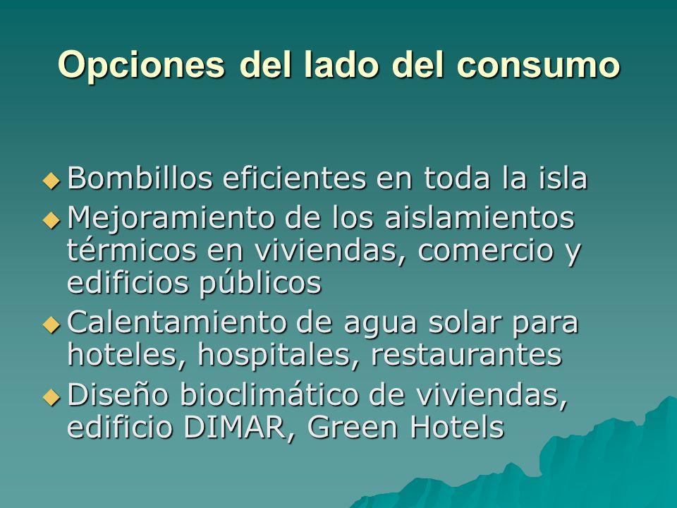 Opciones del lado del consumo Bombillos eficientes en toda la isla Bombillos eficientes en toda la isla Mejoramiento de los aislamientos térmicos en v