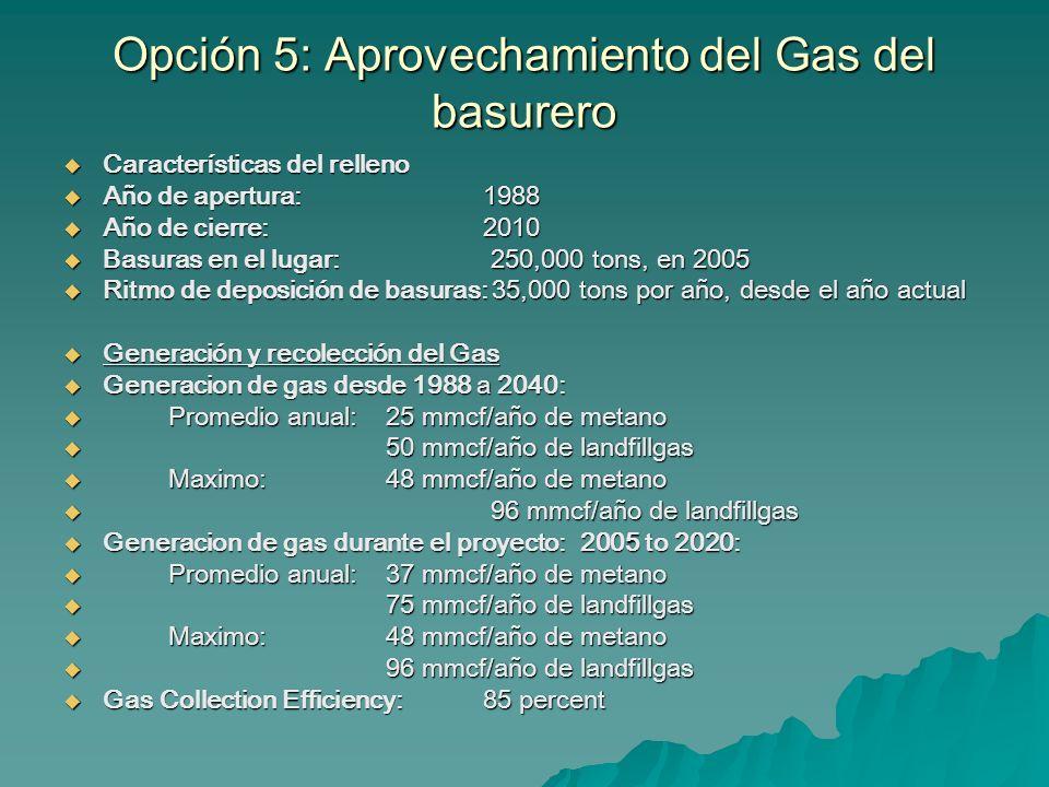 Opción 5: Aprovechamiento del Gas del basurero Características del relleno Características del relleno Año de apertura:1988 Año de apertura:1988 Año d