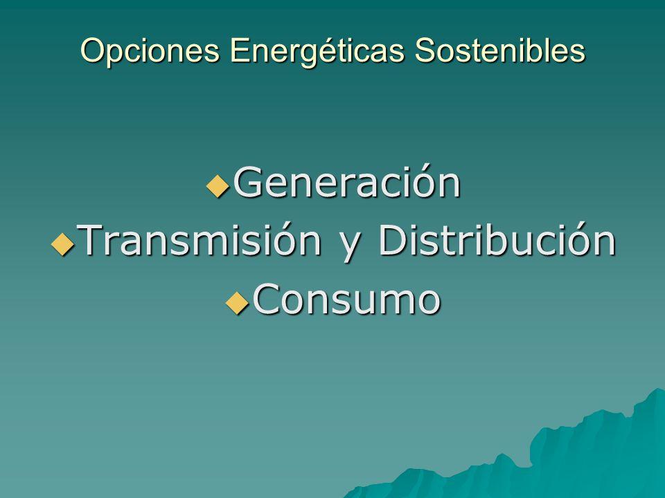 Opciones Energéticas Sostenibles Generación Generación Transmisión y Distribución Transmisión y Distribución Consumo Consumo