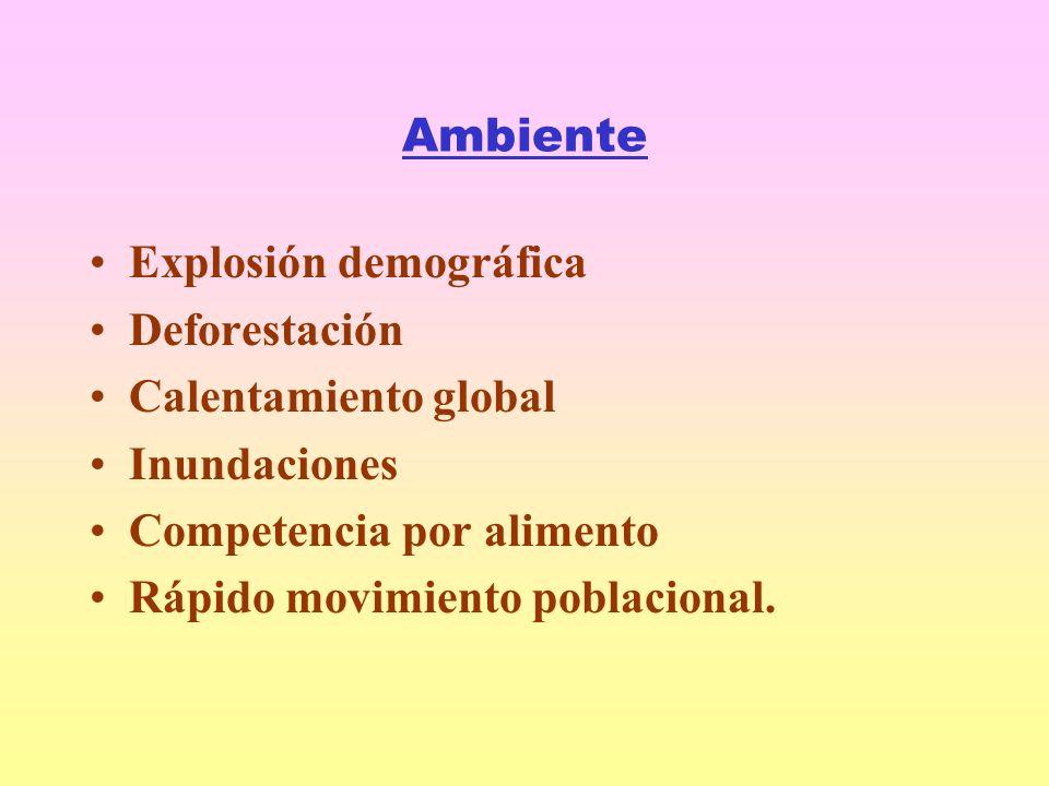 Ambiente Explosión demográfica Deforestación Calentamiento global Inundaciones Competencia por alimento Rápido movimiento poblacional.