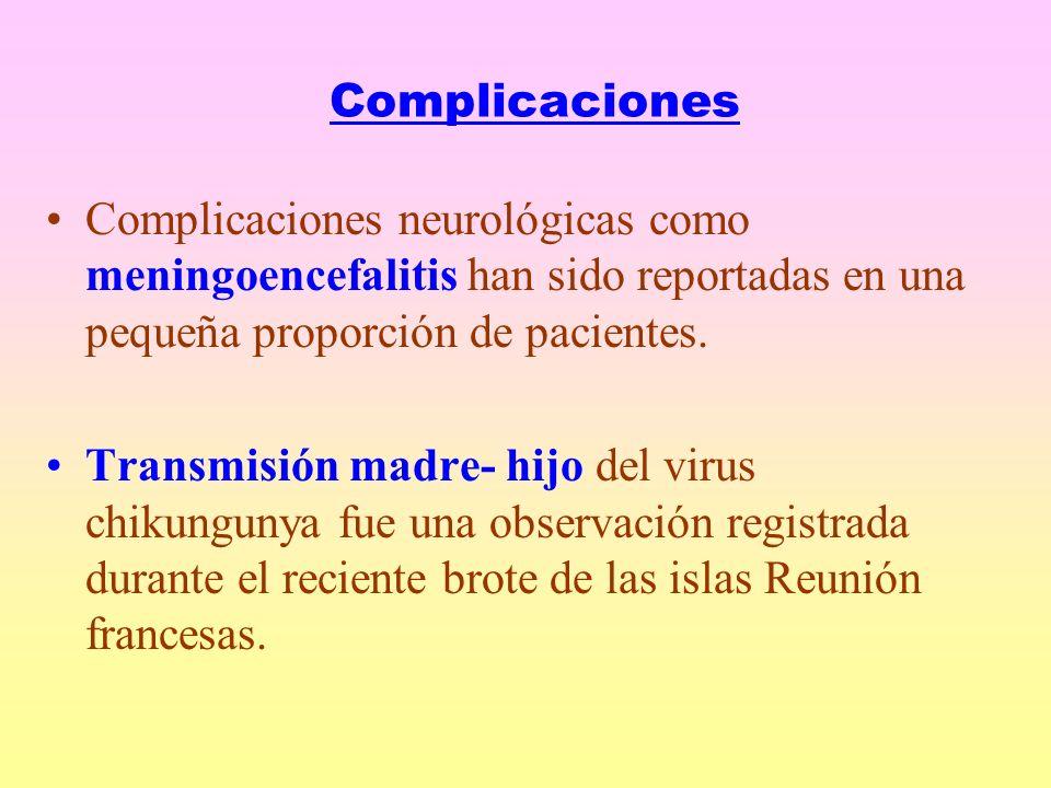 Complicaciones Complicaciones neurológicas como meningoencefalitis han sido reportadas en una pequeña proporción de pacientes.