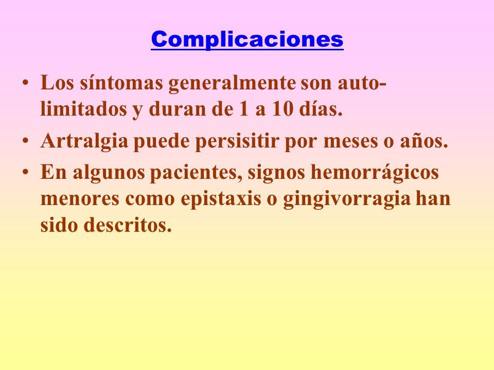 Complicaciones Los síntomas generalmente son auto- limitados y duran de 1 a 10 días.