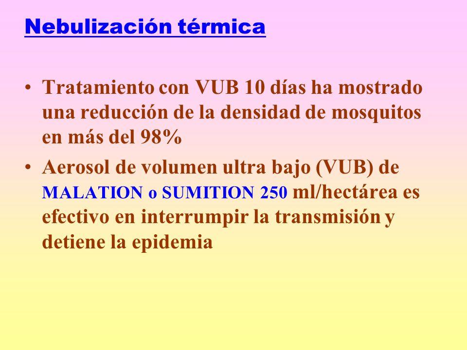 Nebulización térmica Tratamiento con VUB 10 días ha mostrado una reducción de la densidad de mosquitos en más del 98% Aerosol de volumen ultra bajo (VUB) de MALATION o SUMITION 250 ml/hectárea es efectivo en interrumpir la transmisión y detiene la epidemia