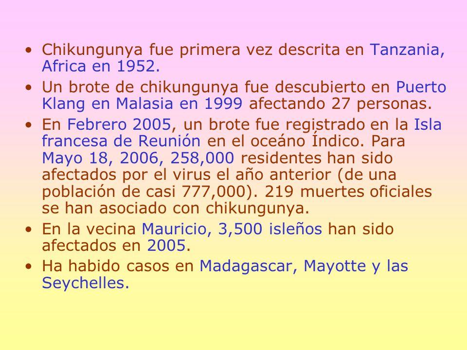 Chikungunya fue primera vez descrita en Tanzania, Africa en 1952.