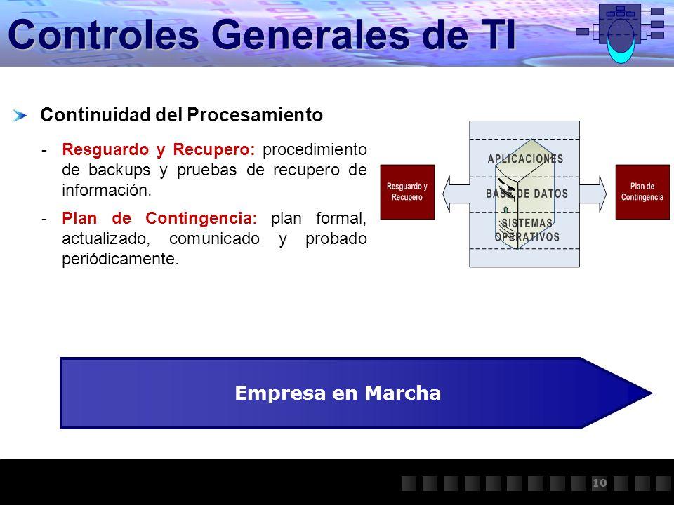 Controles Generales de TI Continuidad del Procesamiento -Resguardo y Recupero: procedimiento de backups y pruebas de recupero de información. -Plan de