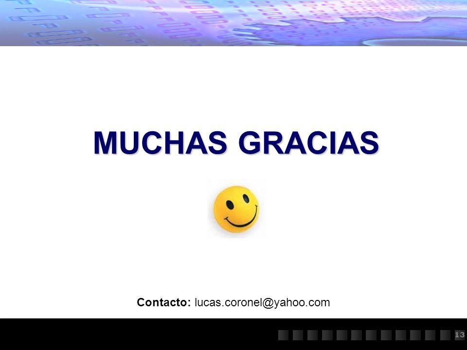 11 MUCHAS GRACIAS 13 Contacto: lucas.coronel@yahoo.com