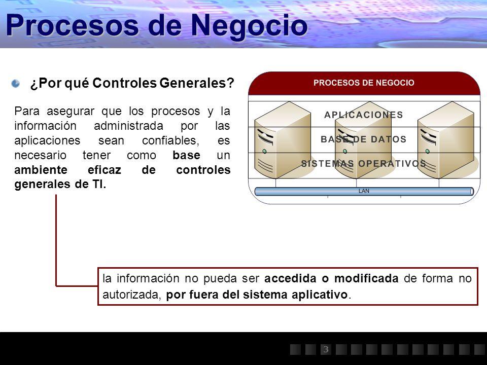 Procesos de Negocio ¿Por qué Controles Generales? la información no pueda ser accedida o modificada de forma no autorizada, por fuera del sistema apli