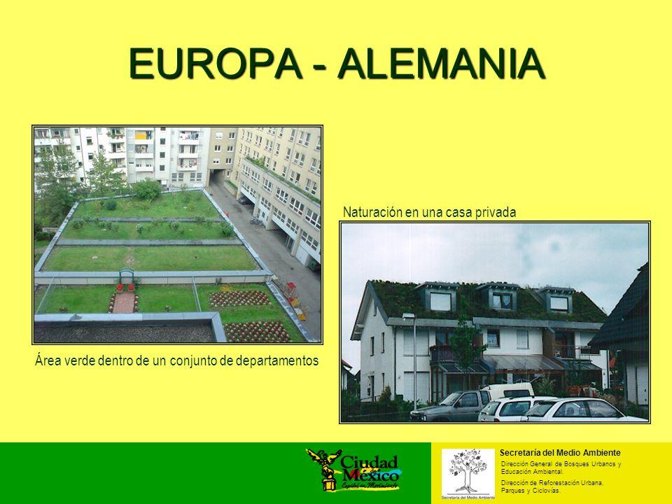 EUROPA - ALEMANIA Área verde dentro de un conjunto de departamentos Naturación en una casa privada Secretaría del Medio Ambiente Dirección General de