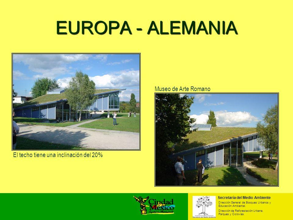 EUROPA - ALEMANIA Museo de Arte Romano El techo tiene una inclinación del 20% Secretaría del Medio Ambiente Dirección General de Bosques Urbanos y Edu