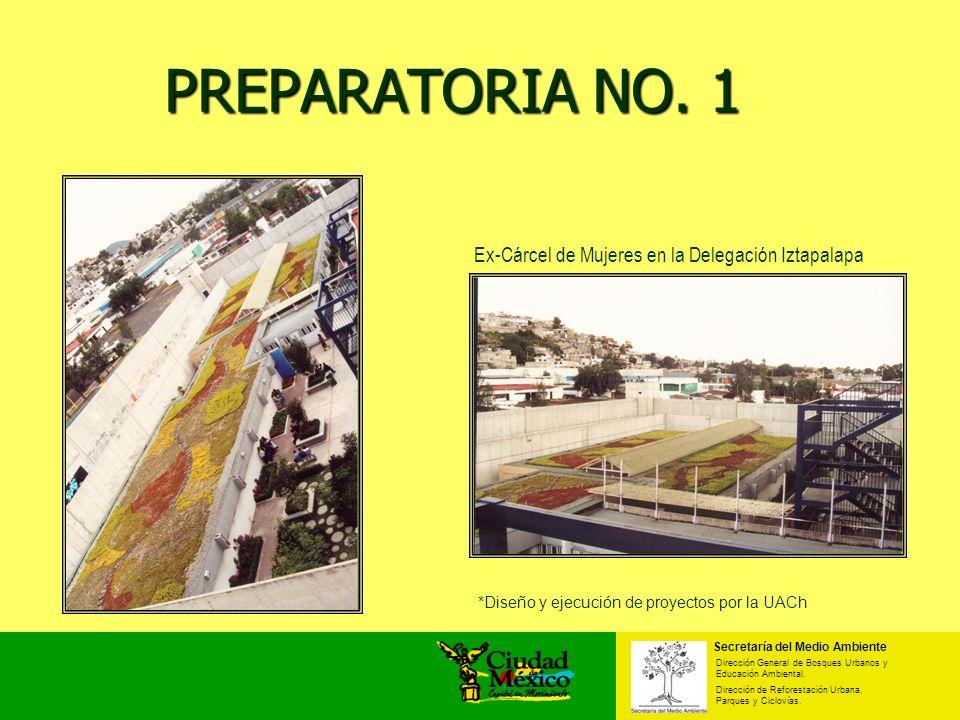 PREPARATORIA NO. 1 PREPARATORIA NO. 1 Ex-Cárcel de Mujeres en la Delegación Iztapalapa Secretaría del Medio Ambiente Dirección General de Bosques Urba