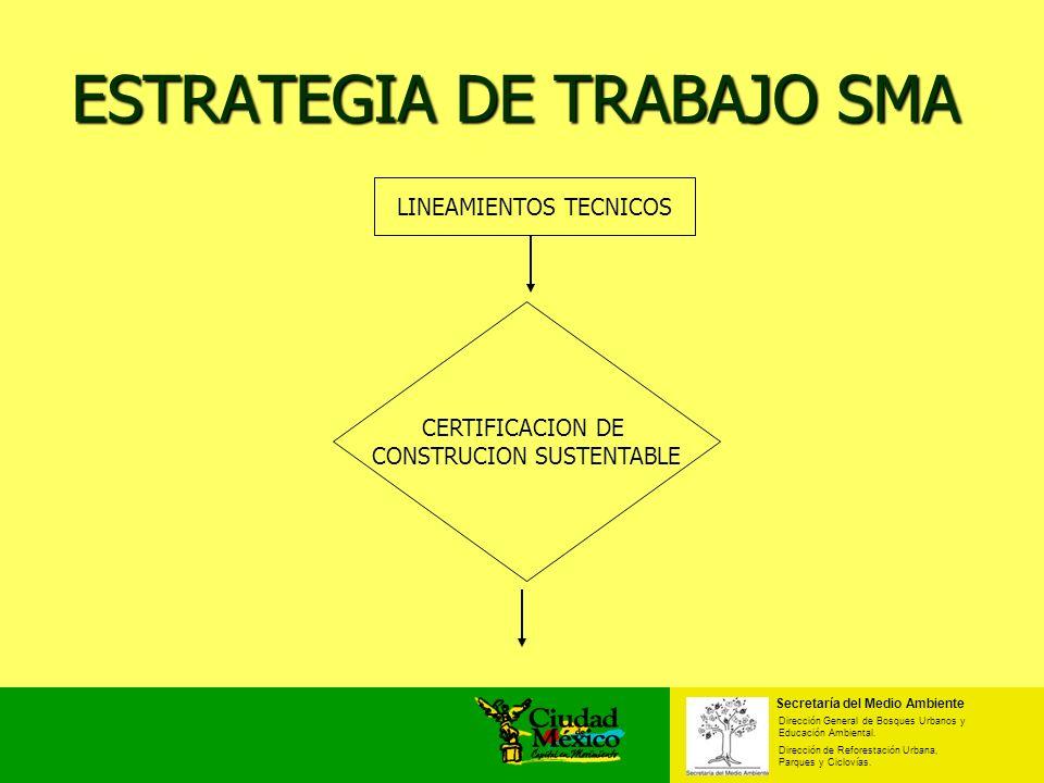 LINEAMIENTOS TECNICOS ESTRATEGIA DE TRABAJO SMA Secretaría del Medio Ambiente Dirección General de Bosques Urbanos y Educación Ambiental. Dirección de