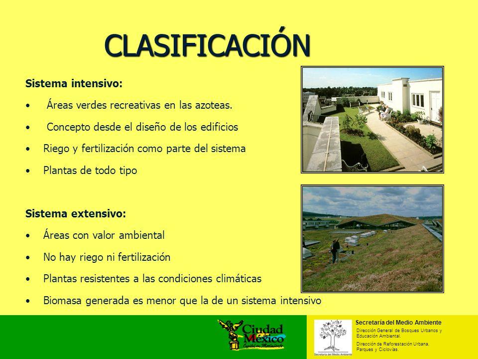 Sistema intensivo: Áreas verdes recreativas en las azoteas. Concepto desde el diseño de los edificios Riego y fertilización como parte del sistema Pla