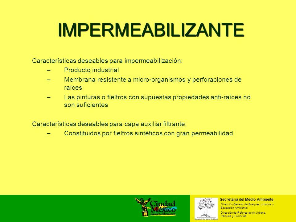 Secretaría del Medio Ambiente Dirección General de Bosques Urbanos y Educación Ambiental. Dirección de Reforestación Urbana, Parques y Ciclovías. IMPE