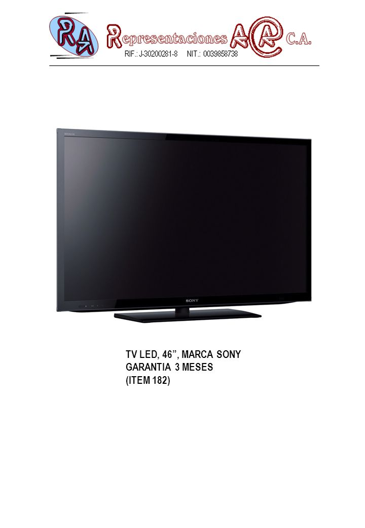 TV LED, 46, MARCA SONY GARANTIA 3 MESES (ITEM 182)