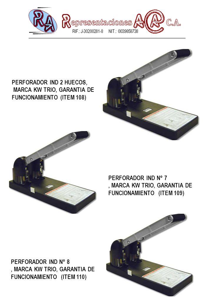 PERFORADOR IND N° 7, MARCA KW TRIO, GARANTIA DE FUNCIONAMIENTO (ITEM 109) PERFORADOR IND 2 HUECOS, MARCA KW TRIO, GARANTIA DE FUNCIONAMIENTO (ITEM 108) PERFORADOR IND N° 8, MARCA KW TRIO, GARANTIA DE FUNCIONAMIENTO (ITEM 110)