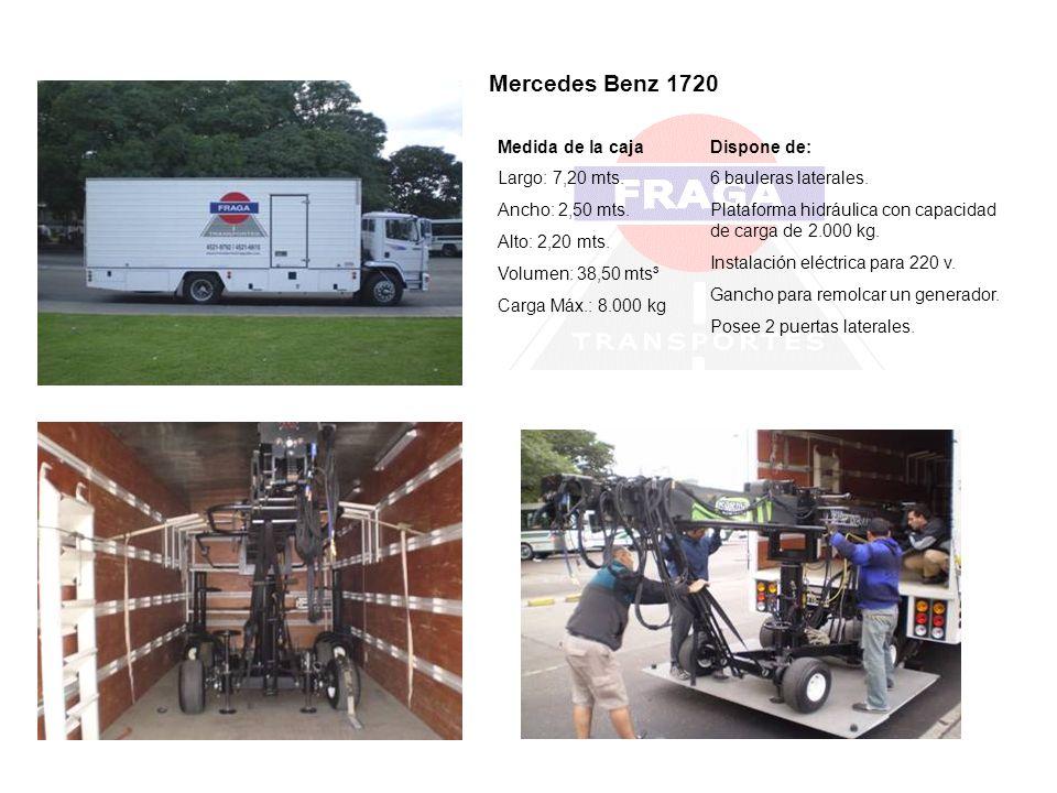 Medida de la caja Largo: 7,20 mts. Ancho: 2,50 mts. Alto: 2,20 mts. Volumen: 38,50 mts³ Carga Máx.: 8.000 kg Dispone de: 6 bauleras laterales. Platafo